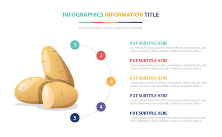 potatoes vegetables infographic template with 5 colorfull bullet number description vector illustration