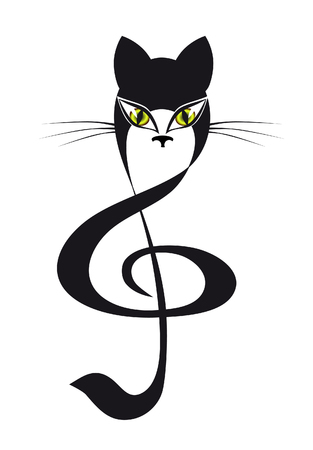 black and white panther: cat treble clef Illustration