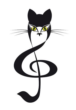 panthers: cat treble clef Illustration