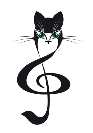 treble clef: cat treble clef Illustration