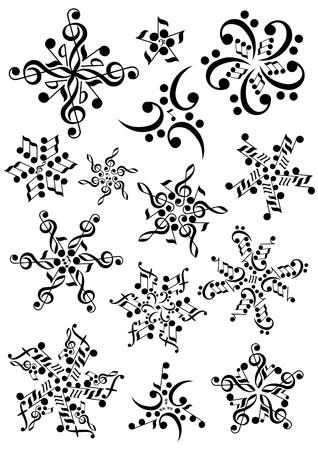 clave de fa: notas de copo de nieve Vectores