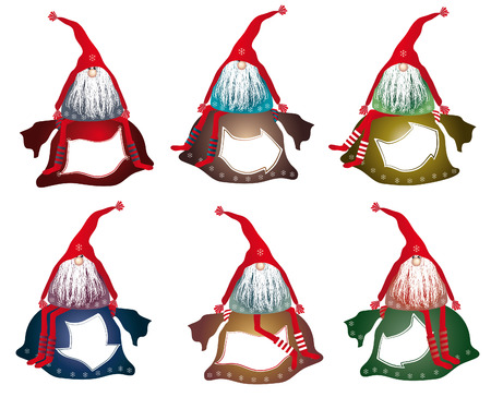gnomos: ilustración de gnomos, Papá Noel con el espacio para el texto, invitaciones, saludos, la etiqueta