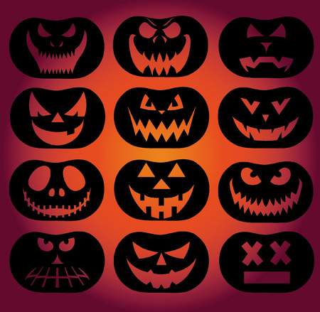 poltergeist: Vector Collection of Spooky Halloween Ghost and Pumpkin Faces
