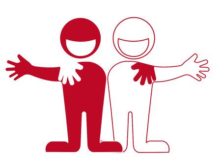 友情は、お互いに、パートナーシップを抱きしめ  イラスト・ベクター素材
