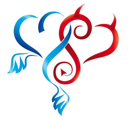tatouage ange: Ange et D�mon coeurs. Vecteur. Illustration