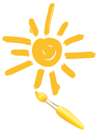 images icon: Drawing sun. Brush Images. Icon. Smiley Illustration