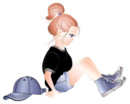 sports girl: sports girl, baby sneakers Illustration