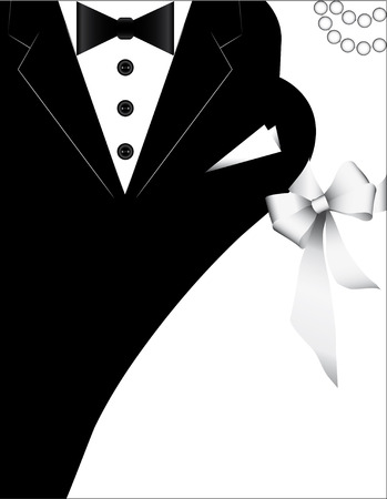tie: costumes for weddings, design for invitation card. wedding banner with a bride and a groom. Illustration