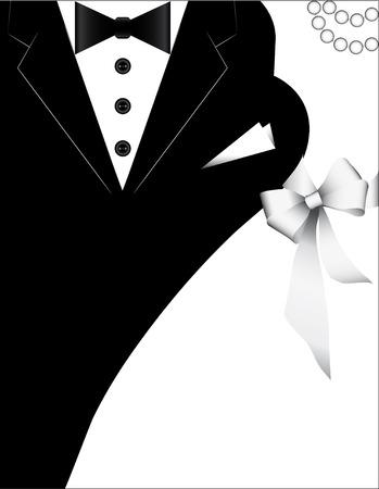 Trajes para las bodas, diseño para la tarjeta de la invitación. Bandera de la boda con una novia y un novio.