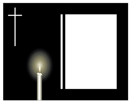 obituary: Funeral frame with a candle and a cross, sad event.