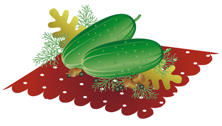 Set of ripe cucumbers. design of healthy lifestyle or diet. Set for pickling cucumbers and pepper, dill and oak leaves. Vector illustration. Illustration