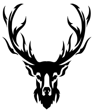 shadow silhouette: deer with horns image, design tattoo, emblem Illustration