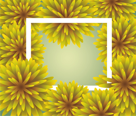 cut flowers: Abstract yellow Floral Greeting card - holiday background with paper cut Frame Flowers. Trendy Design Template. Vector illustration. The wreath of dandelions