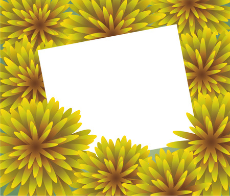 Abstract yellow Floral Greeting card - holiday background with paper cut Frame Flowers. Trendy Design Template. Vector illustration. The wreath of dandelions