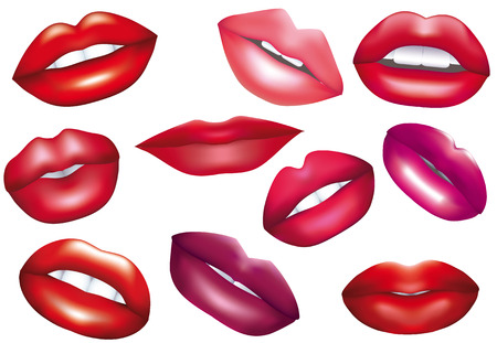 shapes cartoon: Lips set. design element. Illustration