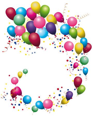 Globos del color brillante. confeti de colores con cintas y globos en el blanco. Tarjeta, de vacaciones Ilustración de vector