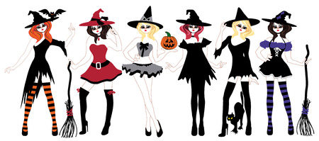 costume eye patch: Set witches for Halloween for registration. Stickers Illustration