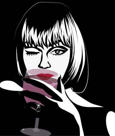 seduction: Luxury woman with a glass of wine and a diamond Illustration