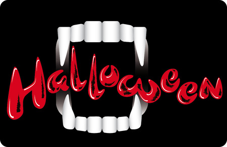 sucking: Vampire Teeth on a dark background. Holiday Halloween. Advertising, invitations, poster Illustration