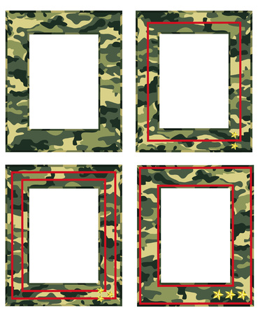 camouflage photo frame with military distinctions Illustration