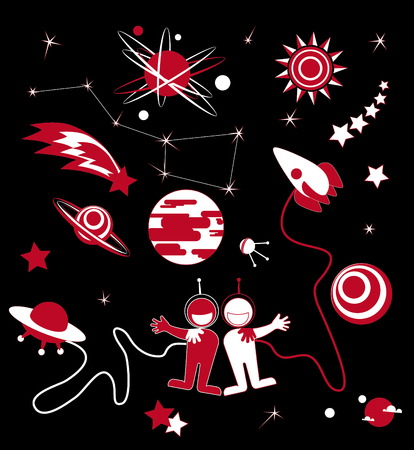 Set of Universe. Solar system, Planets, Sun and Moon, Galaxy. Friendship hug each other, partnership.