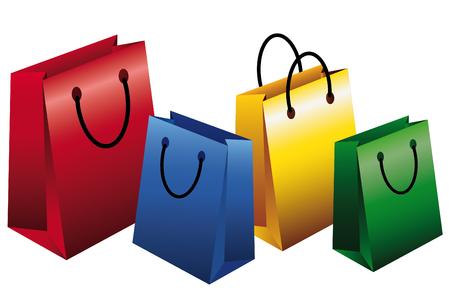 Set of Empty Shopping Bags  イラスト・ベクター素材