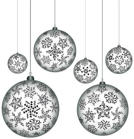 Christmas melody. Musical Christmas balls. Snowflakes notes