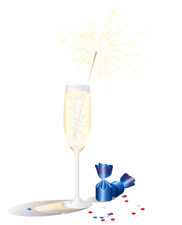 A glass of champagne and chocolates. Festive dinner, lunch. Print. Image for design.