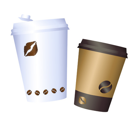 Coffee cup illustration. Paper. coffee cup icon isolated on background. Plastic coffee cup with hot coffee in flat style. Coffee cup beans.