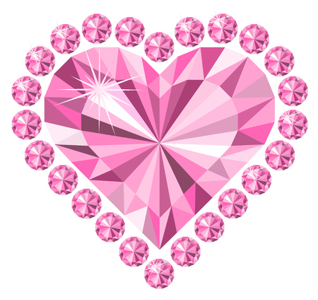 Diamonds, heart, love. Jewelry. Illustration