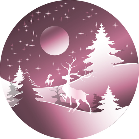 Deer in forest with snow in christmas and winter season. Landscape with deer. Illustration for design
