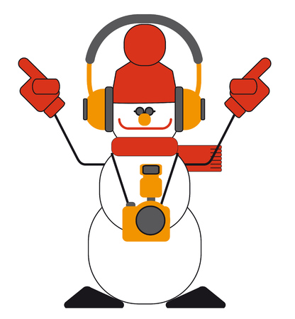 portable audio: Dancing snowman with headphones and a camera. Illustration