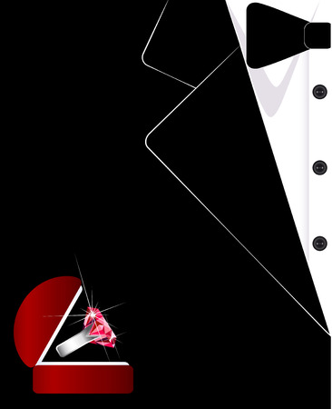 Mens suit. The tuxedo. Jewelry. Business card