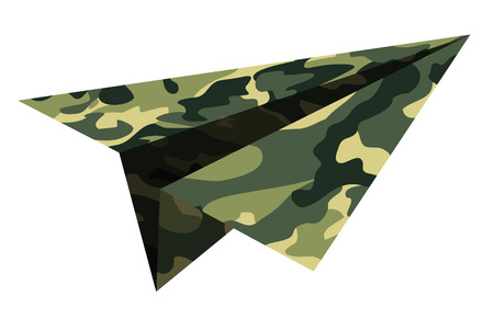 Military, camouflage, a paper airplane. Children's toy.