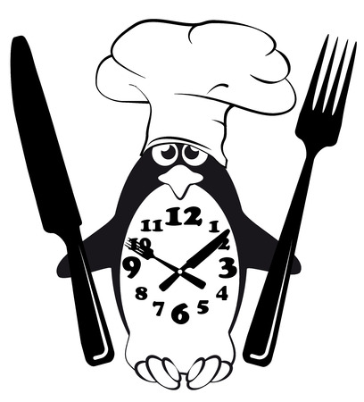 Cook, menu, penguin, glutton, mode Illustration