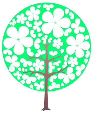 Blooming tree. Spring. Transparent flowers. Illustration