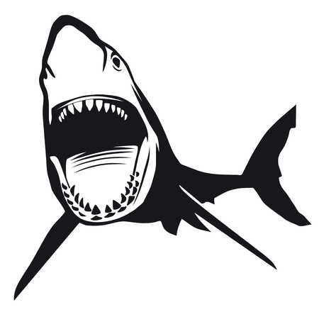 Great  Shark  with opened mouth
