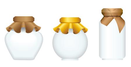 Set of Glass Jars for canning and preserving. Illustration
