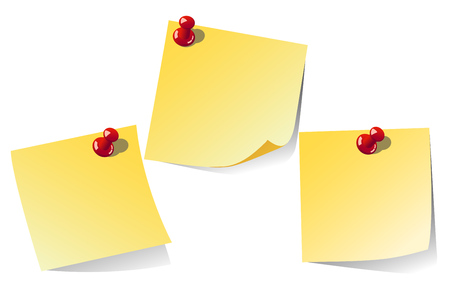 paper pin: Yellow  note isolated on white background, vector illustration