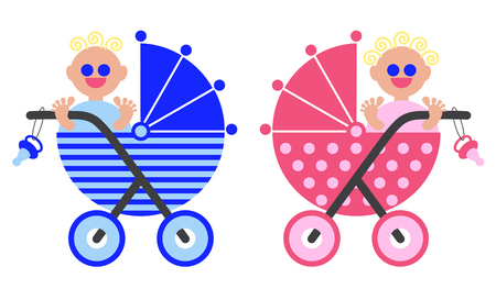 Baby in the stroller. A boy and a girl. Newborns.