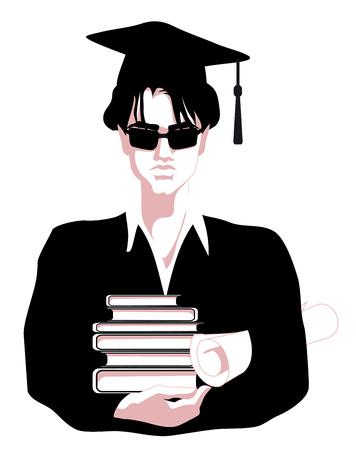 Onderwijs, student, afstuderen, diploma Stock Illustratie