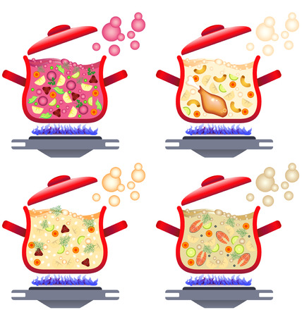 Illustration of various soups for menu design, home cooking