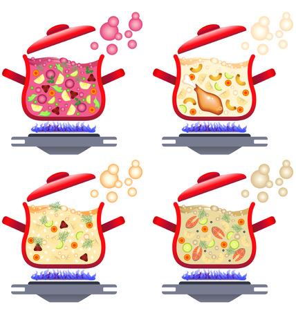 Illustration of various soups for menu design, home cooking