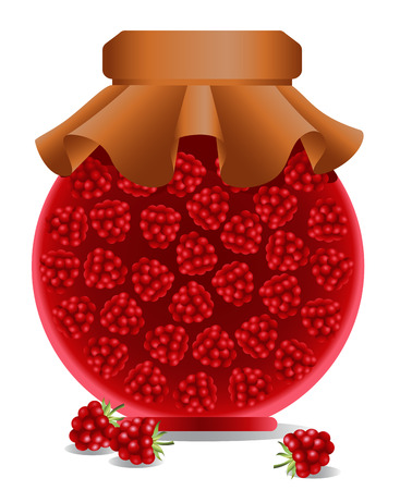 Raspberry jam in a jar