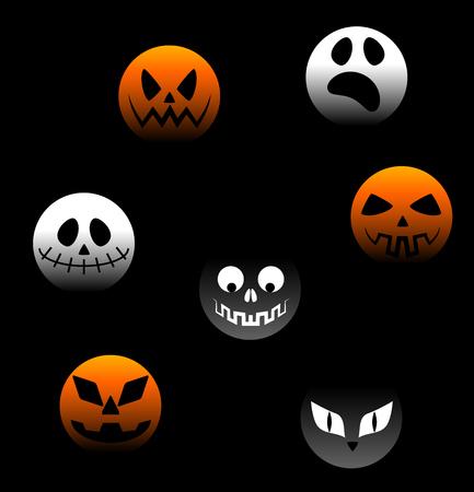 Vector Collection of Spooky Halloween Ghost, Pumpkin, demon