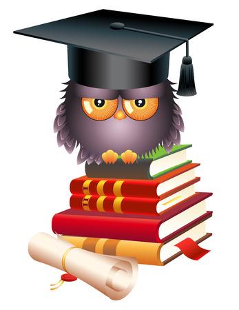 Educational concept . school. Wise owl, books and graduate cap.