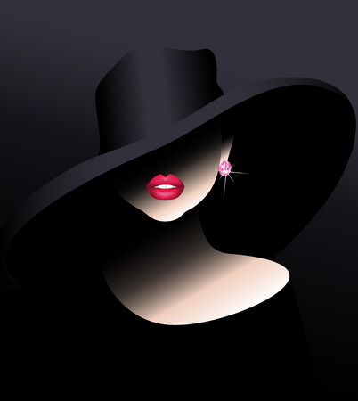 Sensual girl in a hat with a diamond