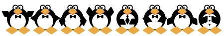Photo of stylish funny little penguin on the street.