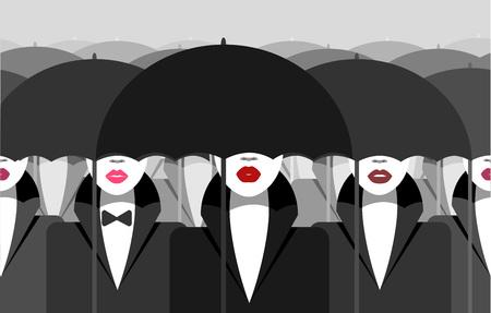 Woman under an umbrella  イラスト・ベクター素材