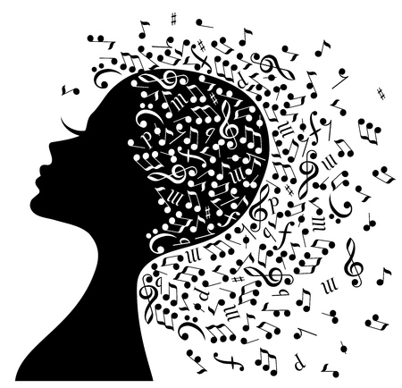 Music in the head. Illustration